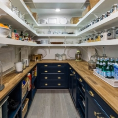 AC4206 - Walk-in pantry with navy blue counters